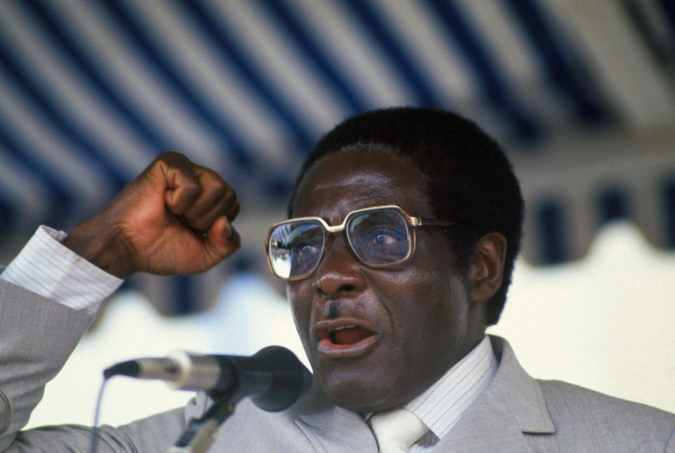 1 August 1983: Robert Mugabe, then Prime Minister of Zimbabwe, delivering a speech. Bettmann Archive/Getty Images