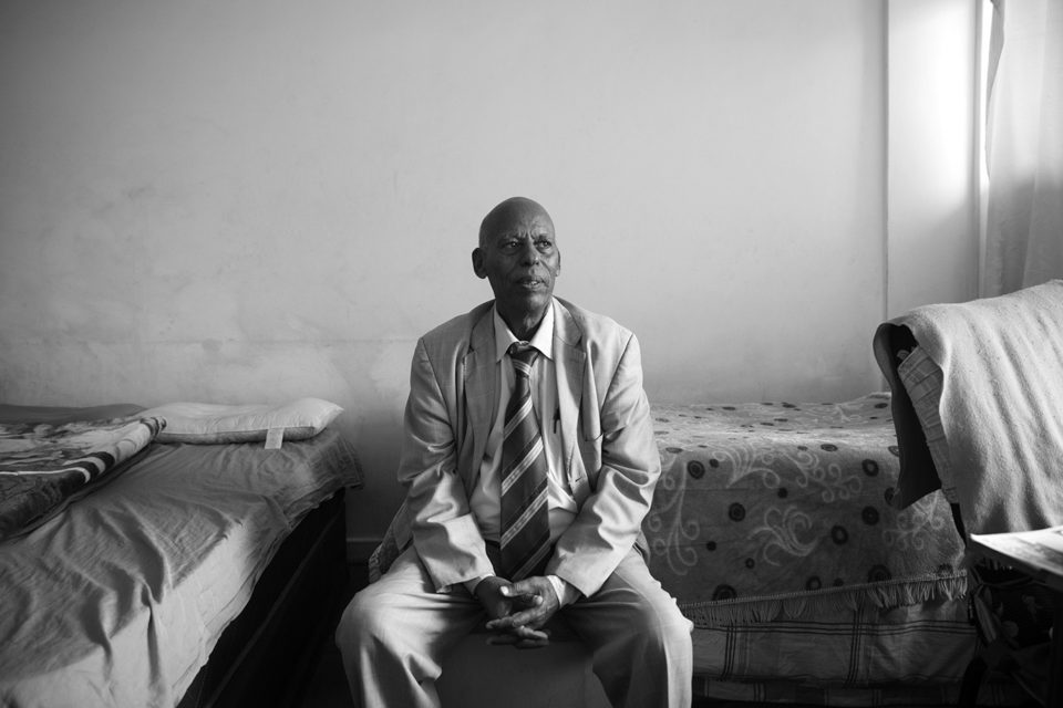 Estefanos Worku Abeto in his Yeoville flat, which he shares with a few fellow Ethiopians.