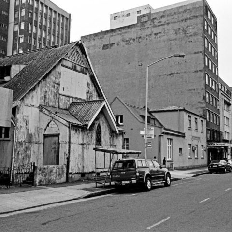 The offices of Black Community Programmes at 86 Beatrice Street in the Durban CBD are seen on the on the left hand side of the United Congregational Church in this undated photograph. Photograph courtesy of Durban Local History Museums