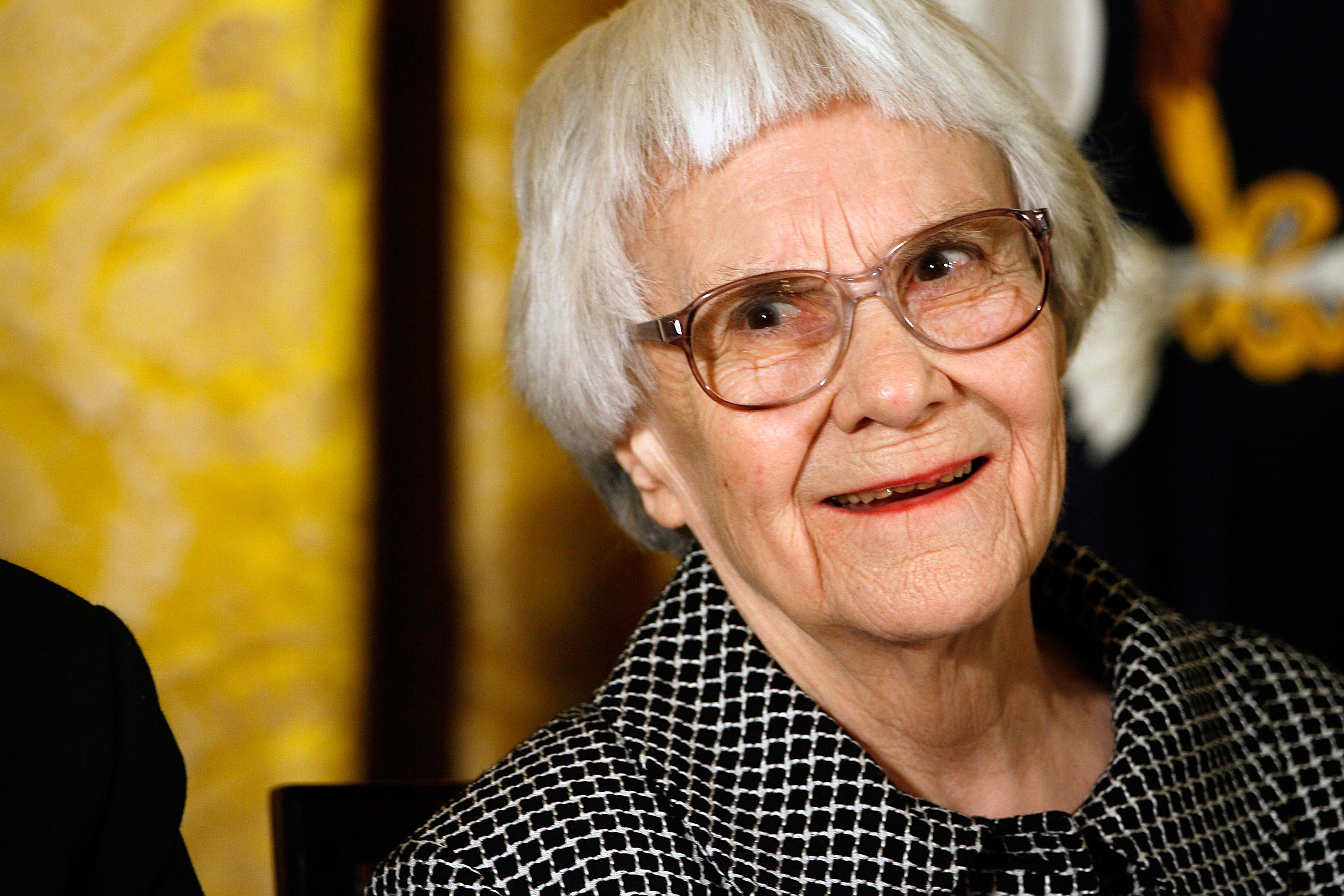 5 November 2007: Harper Lee, Pulitzer Prize-winner and author of 'To Kill A Mockingbird', smiles before receiving the 2007 Presidential Medal of Freedom. (Photograph by Chip Somodevilla/Getty Images)