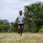 14 January 2019: South African triathlete Mhlengi Gwala warming up at the University of KwaZulu-Natal's Howard College.