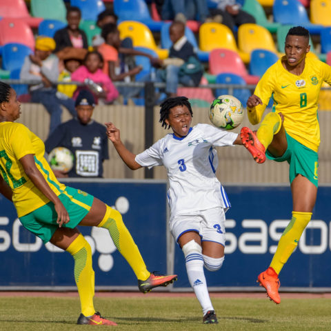 Kgaelebane Mohlakoana of Banyana Banyana and Tsoanelo Leboka of Lesotho during the CAF Womens Nations Cup qualifier 2nd leg match at Dr Petrus Molemela Stadium in Bloemfontein on 10 June, 2018. (Photo by Frikkie Kapp/Gallo Images)