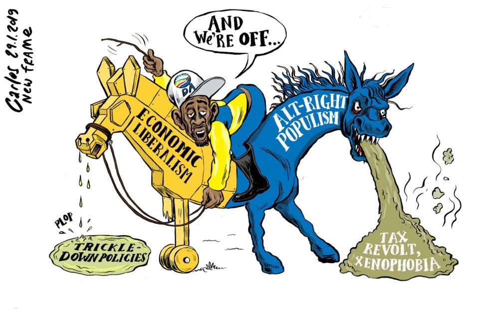 Cartoon by Carlos   Two-horse race