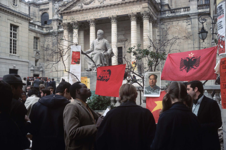 22 May 1968: Students taking part in France's eight million person general strike mingle on the grounds of the Sorbonne University in Paris. (Photograph by Bettmann/Contributor)