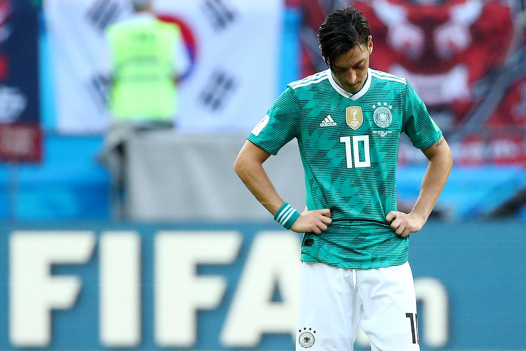 27 June 2018: Mesut Ozil looks dejected after Germany's 2-0 loss to South Korea in the group stage of the 2018 FIFA World Cup in Russia. The loss saw Germany, then defending champions, eliminated from the competition. REUTERS/Michael Dalder