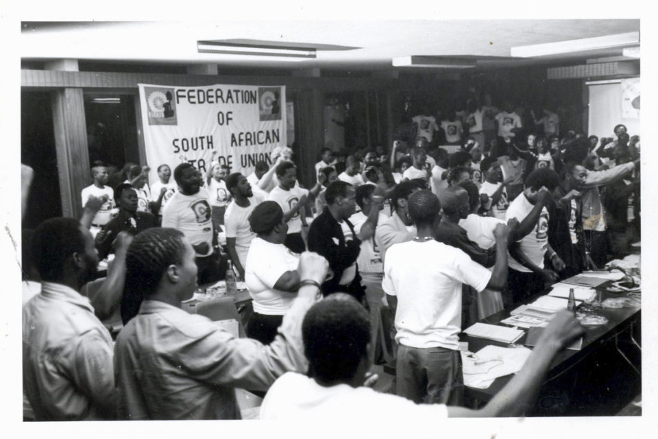 Circa 1980s: Shop stewards at a Fosatu congress. (Photograph courtesy of Wits Historical Papers)