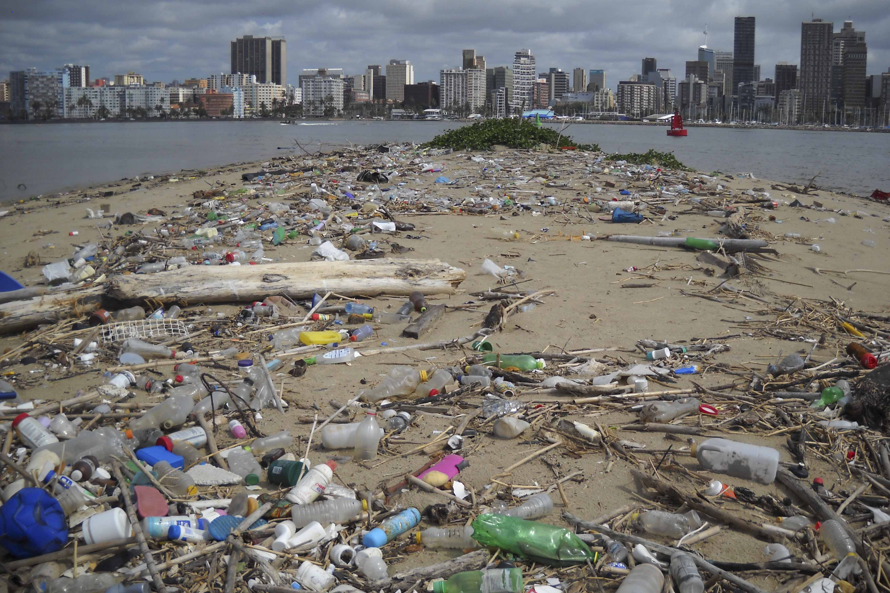 November 2017: A tide of plastic detritus washes into Durban's harbour and up on the surrounding beaches every year. Despite regular clean-up campaigns, a fresh influx of plastic appears after each heavy rainfall. (Photograph by Johnny Vassilaros)