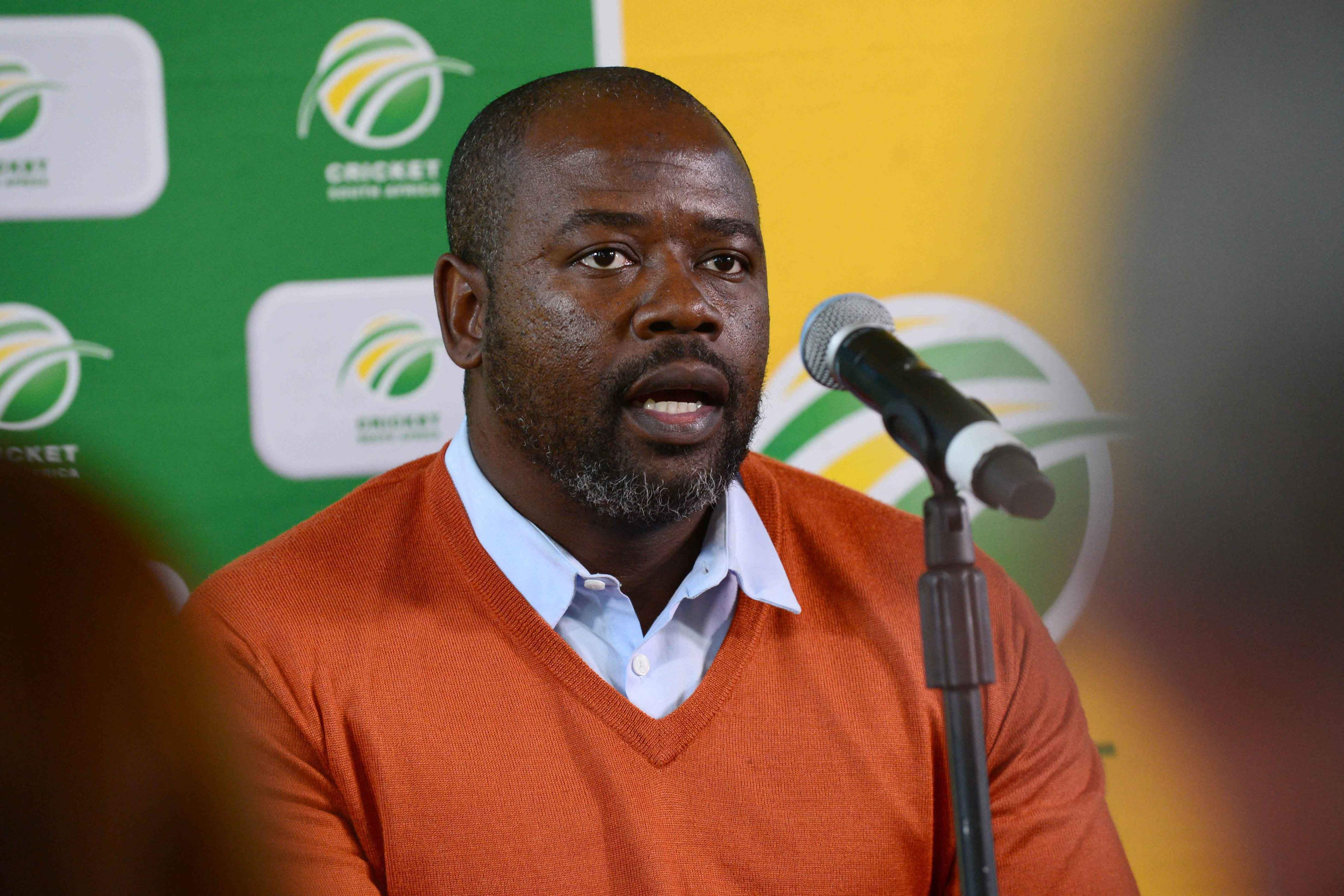 6 October 2017: Cricket South Africa Vice President and acting CEO Thabang Moroe delivering a media briefing at the Mangaung Oval in Bloemfontein. (Photo by Lee Warren/Gallo Images)