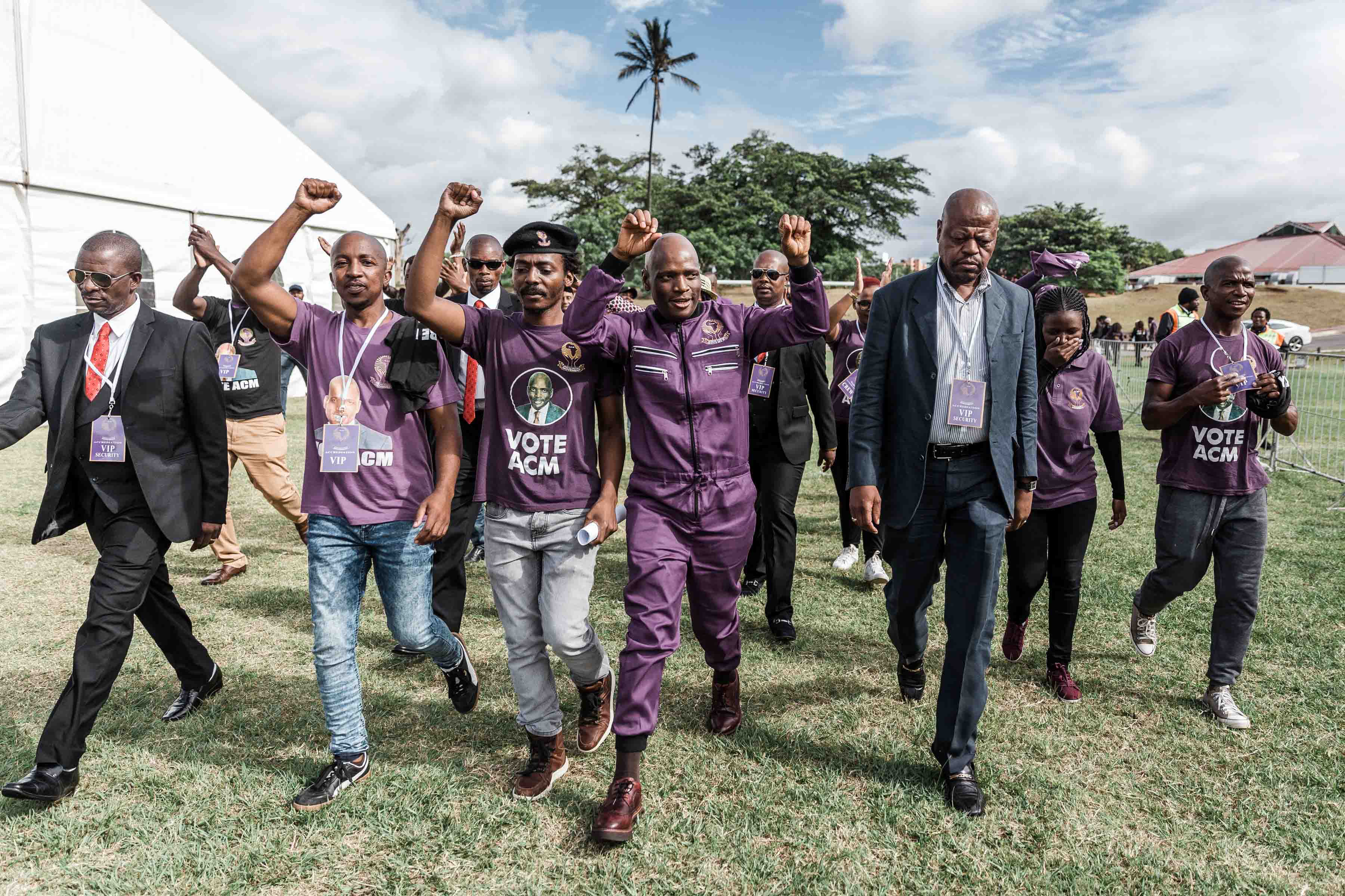 6 April 2019: African Content Movement president Hlaudi Motsoeneng arrived late at his party's election manifesto launch in Durban after his lawyers tried and failed to get the SABC to broadcast the event.