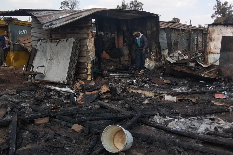 5 July 2018: A shack fire in Good Hope settlement in Ekhuruleni left at least ten families homeless. (Photograph by: Nation Nyoka)