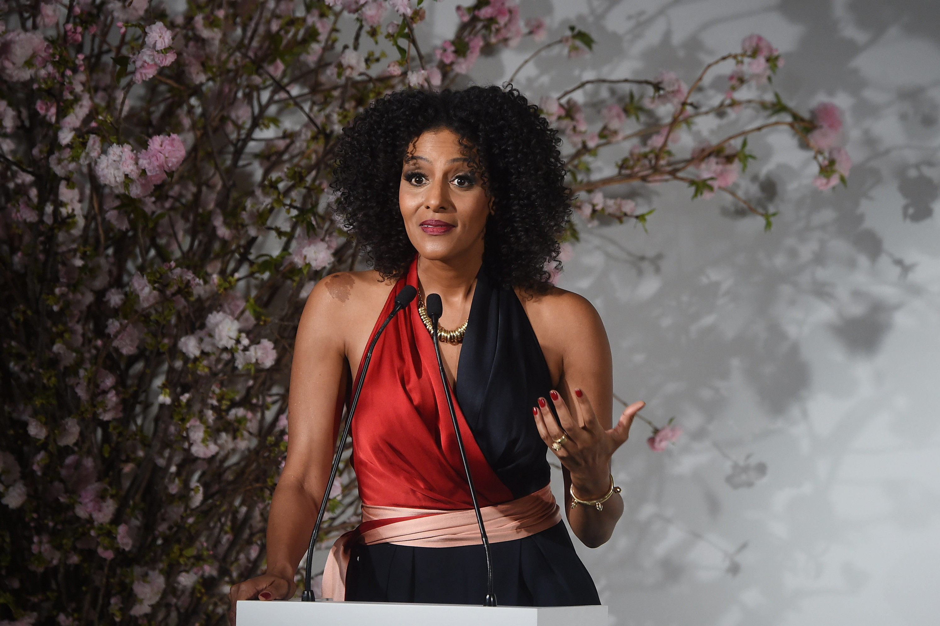 6 April 2017: Sarah Jones speaks onstage at the 2017 DVF Awards at the United Nations Headquarters in New York City. (Photograph by Jamie McCarthy/Getty Images)