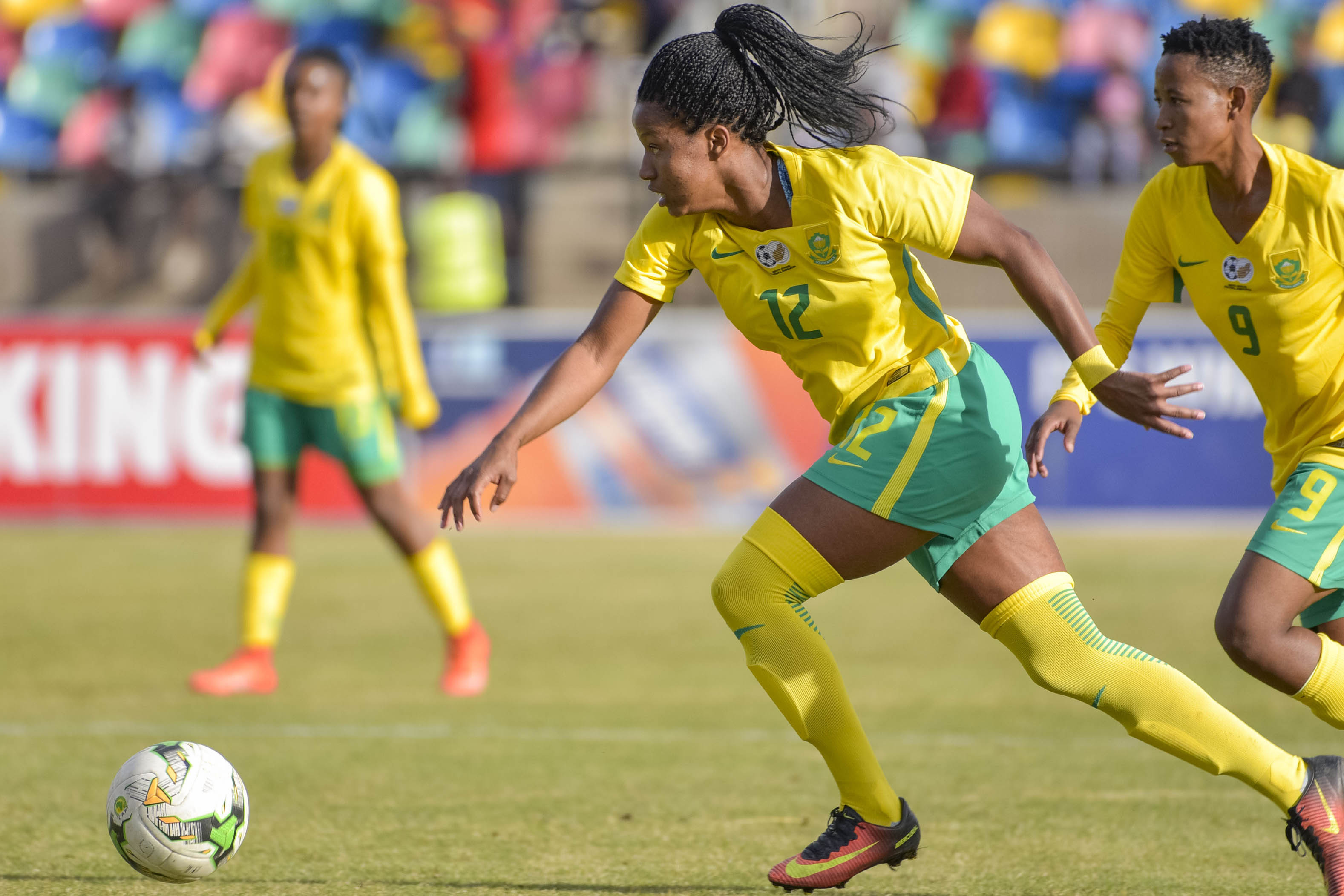 10 June 2018: Jermaine Seoposenwe of Banyana Banyana during the CAF Women's Nations Cup qualifier 2nd Leg match between South Africa and Lesotho at Dr Petrus Molemela Stadium in Bloemfontein. (Photo by Frikkie Kapp/Gallo Images)