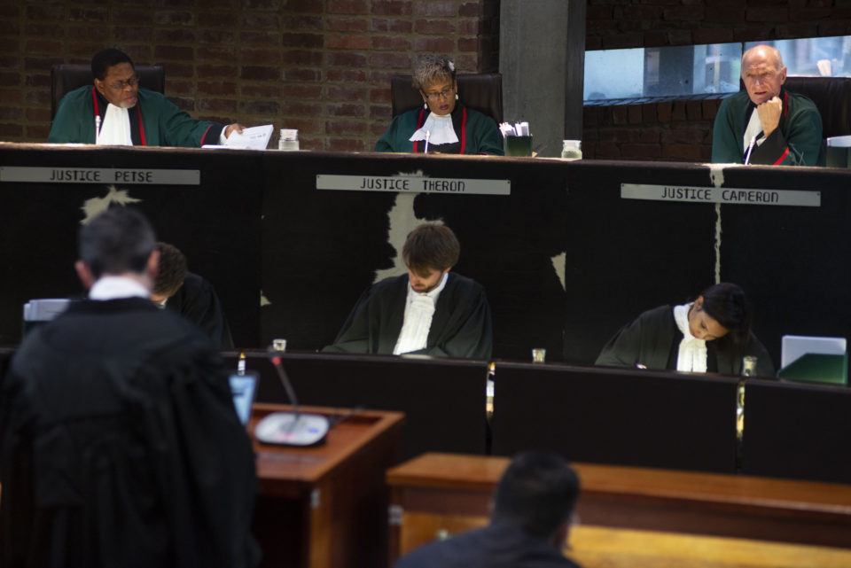 01 November 2018: Justice Edwin Cameron listens to arguments from Advocate Steven Budlender, who appeared on behalf of Rwandan asylum seeker Alex Ruta at the Constitutional Court.