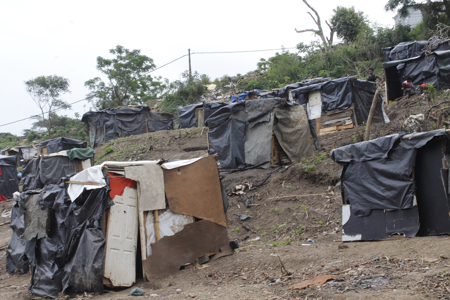 5 November 2018: Shacks in eKhenana, a new land occupation in Cato Crest in Durban. (Photograph by Nomfundo Xolo/GroundUp)