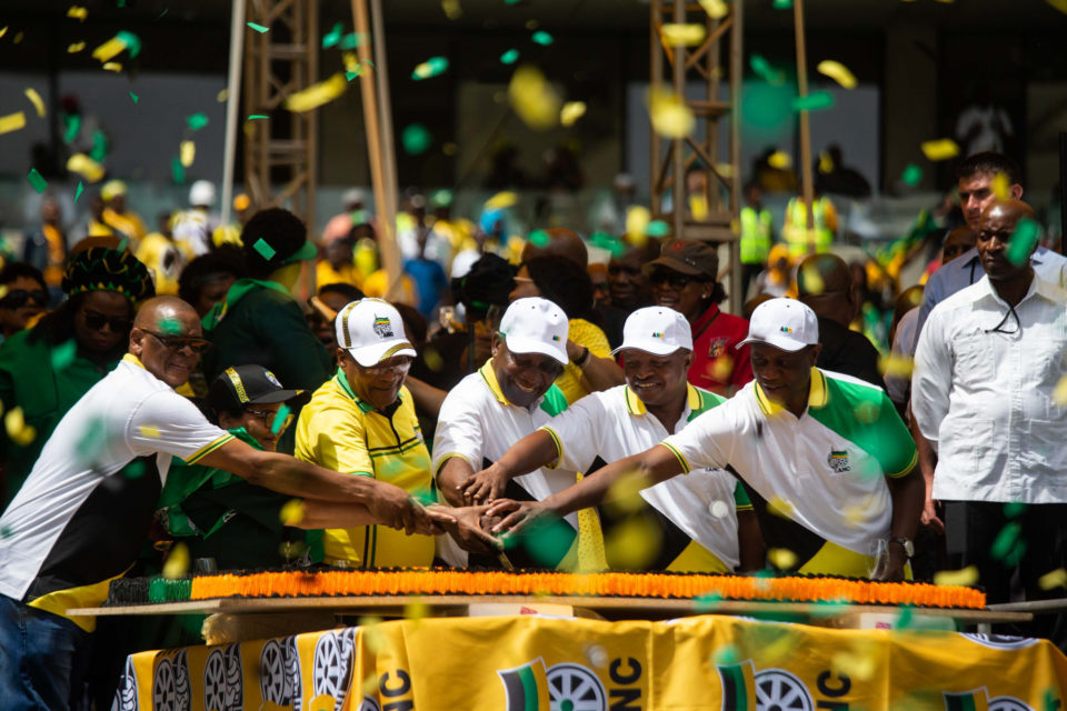12 January 2019. ANC leaders cutting the cake at the end of the party's election manifesto launch at the Moses Mabhida Stadium, Durban.