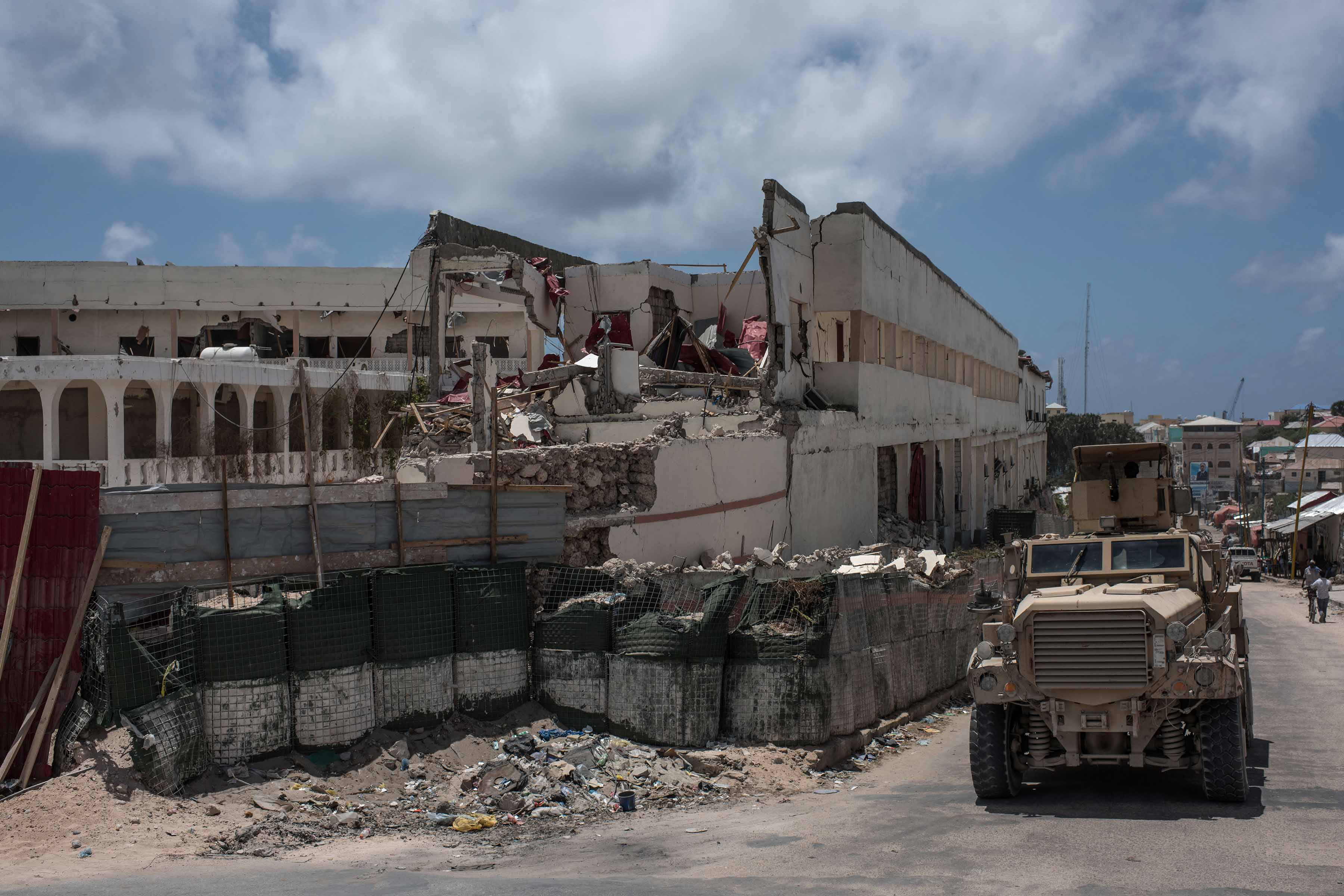 13 October 2016: The SYL Hotel in Mogadishu, Somalia, destroyed by an Al-Shabaab truck bomb. (Photograph by Andrew Renneisen/ Getty Images)
