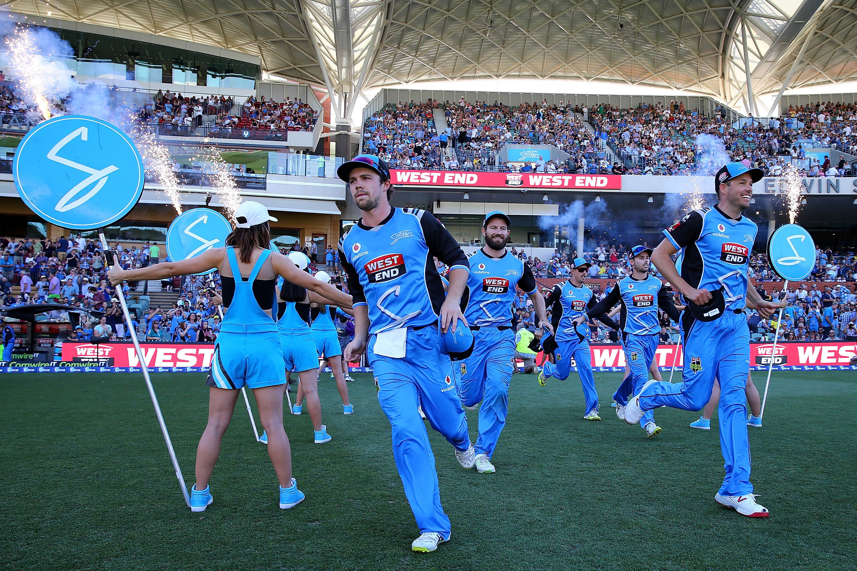 February 4, 2018: The Adelaide Strikers run onto the ground to take to the field during the Big Bash League Final in Adelaide, Australia. Australia's Big Bash League is an example of a successful business model. (Photo by Paul Kane/Getty Images)