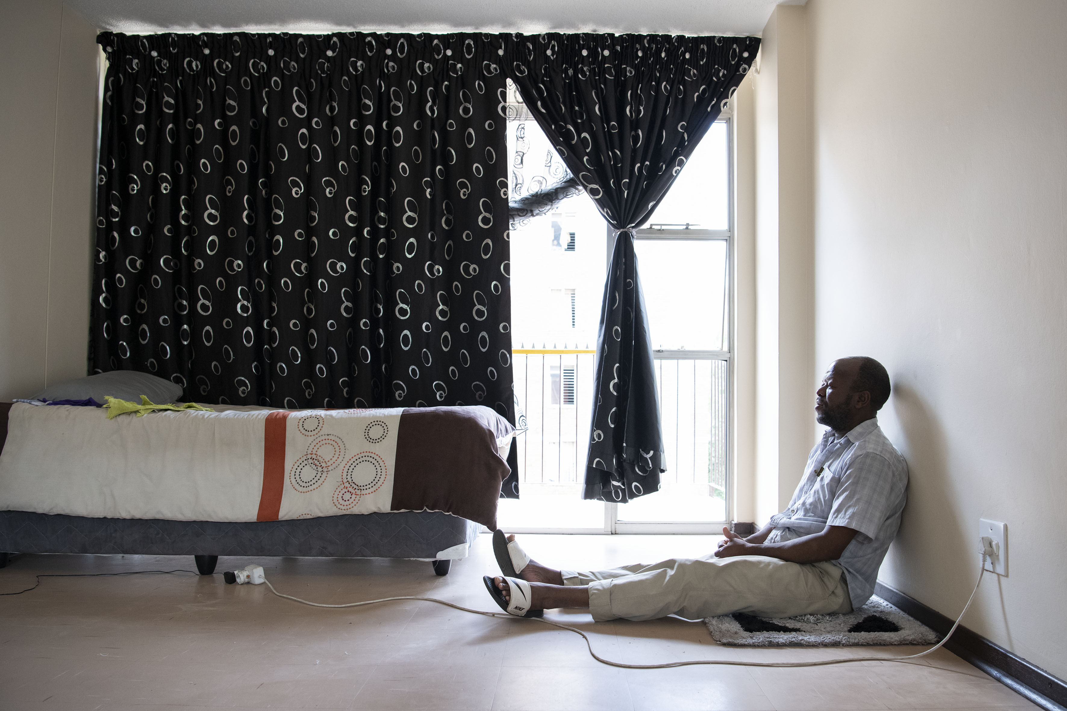 19 January 2019: Zonke Dlamini in a rented flat in Tshwane shortly after his release from prison in eSwatini. Dlamini was a public supporter of Pudemo, even when it was banned in eSwatini.