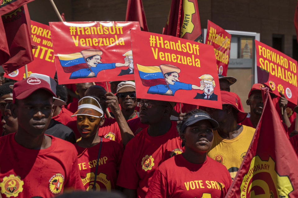 16 March 2019: National Union of Metalworkers of South Africa members protest outside the US consulate in Sandton, Johannesburg, in solidarity with the Venezuelan government and against American interference in the country.