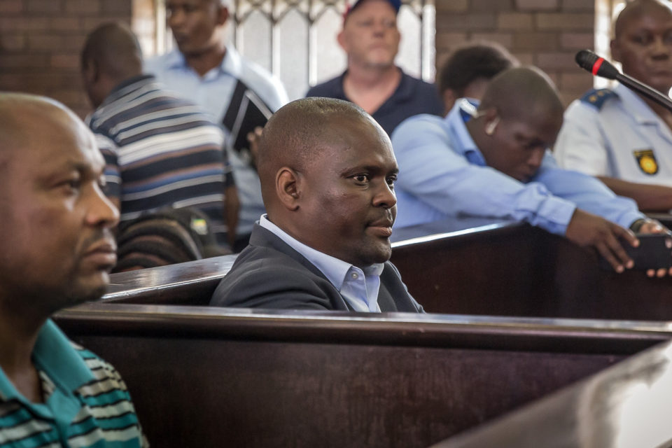 19 March 2019: From left, Zweliphansi Sikhosana and Harry Gwala District mayor Mluleki Ndobe in the uMzimkhulu magistrates' court. They stand accused of murdering ANC Youth League leader Sindiso Magaqa in 2017.