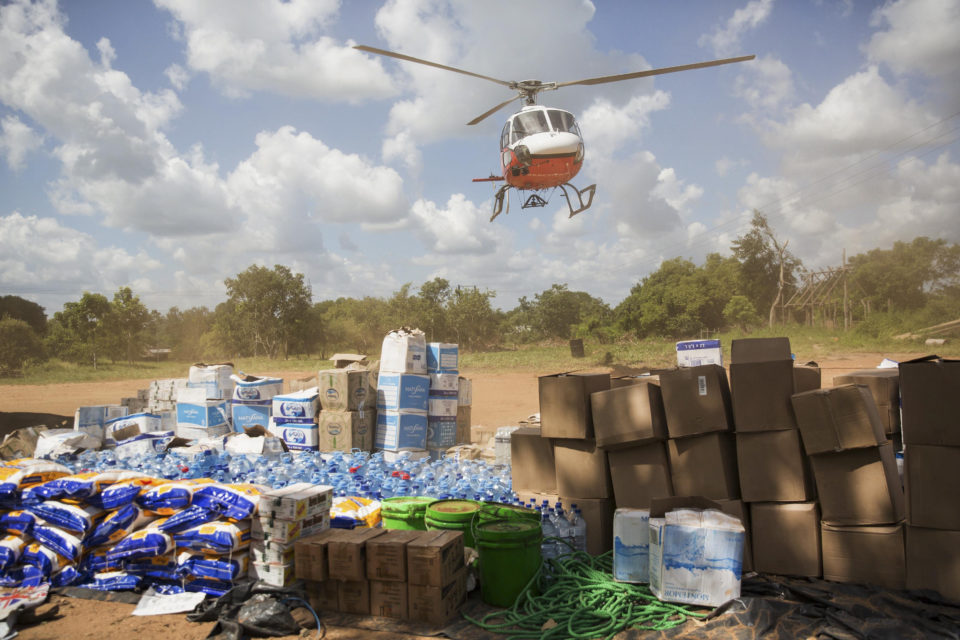 31 March 2019: A Mercy Air helicopter taking off from Matarara to deliver aid packages to villagers affected by the Cyclone Idai floods.