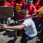 14 March 2019: Workers protesting outside ArcelorMittal in Vanderbijlpark for permanent contracts and better working conditions.