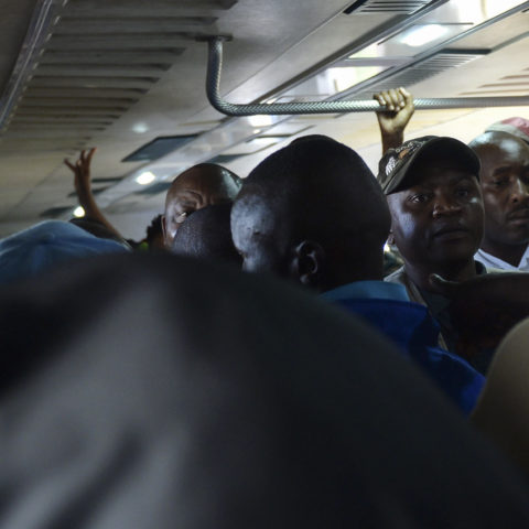 15 March 2019: (From left) Gauteng Premier David Makhura and President Cyril Ramaphosa ride a train from Mabopane to Pretoria station. The train was late and later on also got stuck for about two hours. (Photograph by Deaan Vivier/Netwerk24)