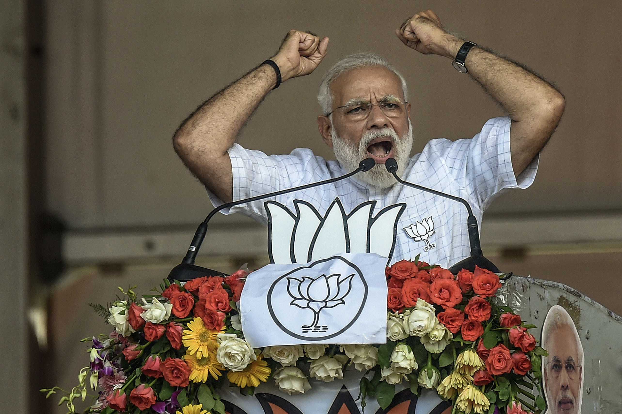3 April 2019: Indian Prime Minister Narendra Modi speaks at the public rally at Brigade ground in Kolkata, India. Around 900 million people will vote during India's general election, from 11 April to 19 May. (Photograph by Atul Loke/Getty Images)