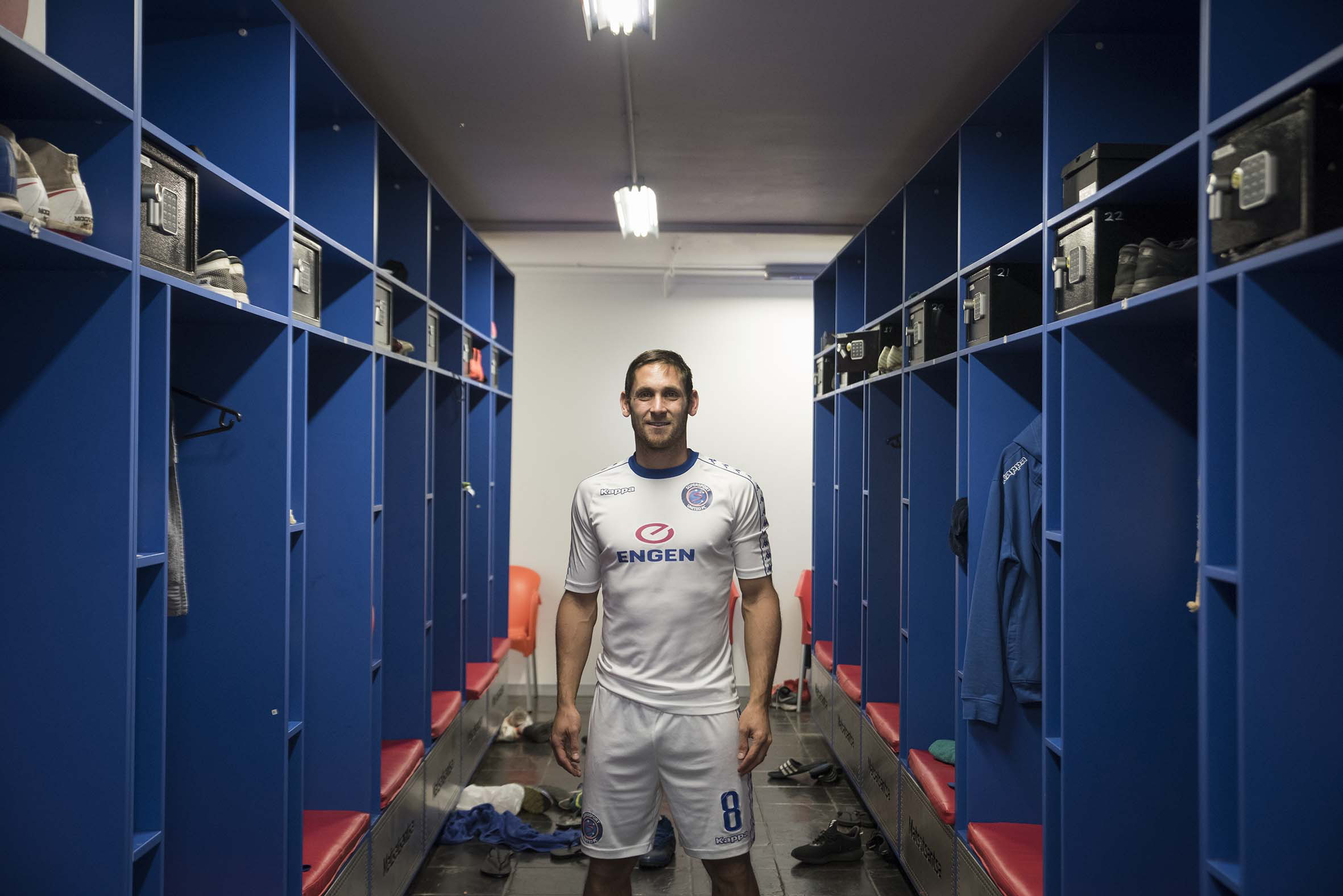 11 September 2018: Bafana Bafana midfielder and Supersport United captain Dean Furman at the Supersport United changing rooms at their training facility in Megawatt Park in Woodmead.