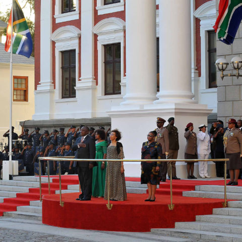 7 February 2019: President Cyril Ramaphosa and his wife (front right), Tshepo Motsepe, on the steps of Parliament before Ramaphosa delivered this year's State of the Nation Address. (Photograph by Gallo Images/ Ziyaad Douglas)