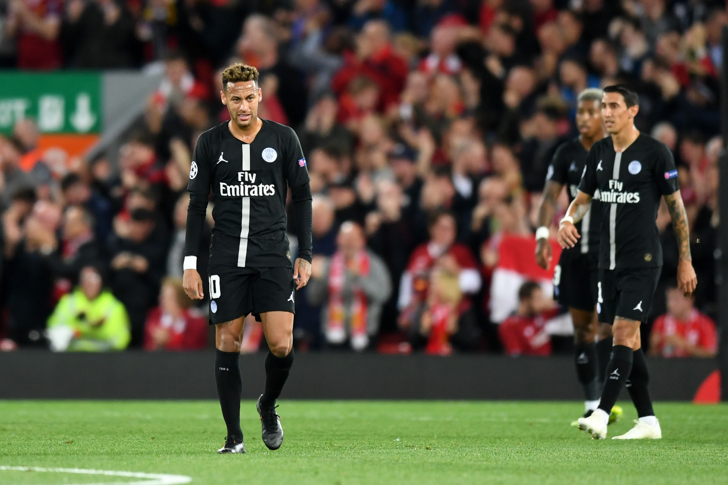 18 September 2018: Neymar looks dejected after conceding the first goal during the UEFA Champions League match between Liverpool and Paris Saint-Germain at Anfield. (Photo by Michael Regan/Getty Images)