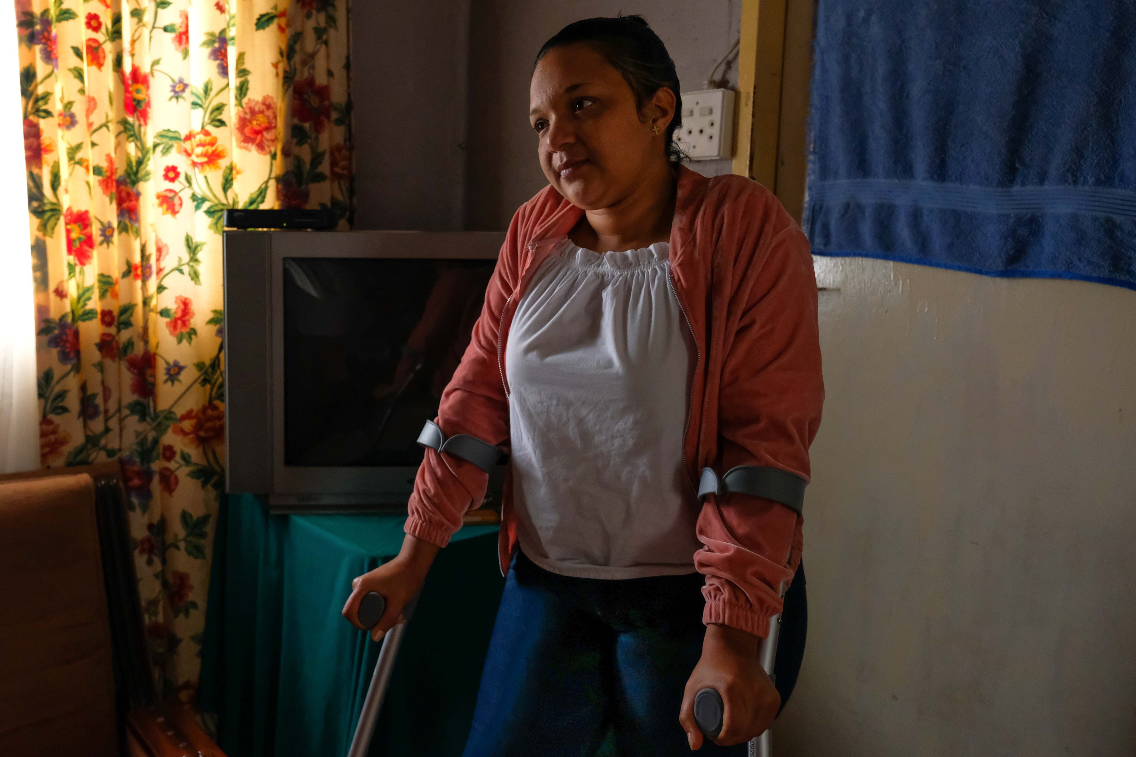13 April 2019: Priscilla Josi was shot in the leg while attempting to flee when police and other security officials opened fire on protesters in Caledon in the Western Cape.