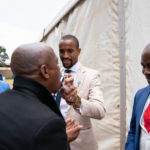 7 April 2019: Sundowns player Tiyani Mabunda, a devout follower of Prophet Bushiri of the ECG church, sprays anointed water into a friend's mouth.