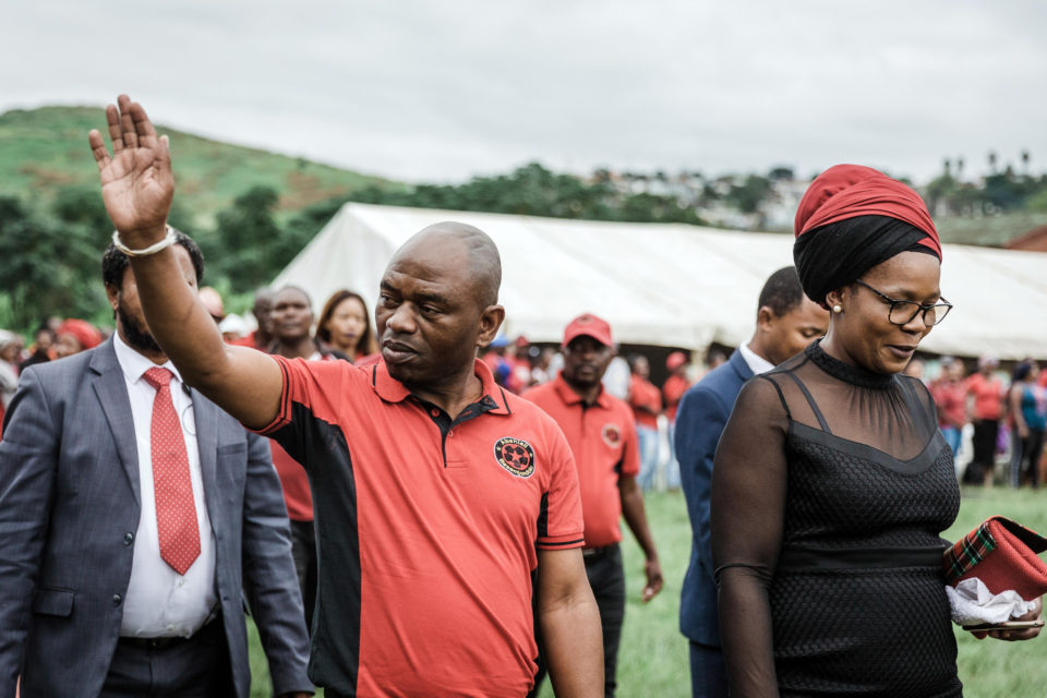 28 April 2019: Abahlali baseMjondolo president S'busiso Zikode waves to supporters as he walks alongside his wife, Sindy, at the movement's UnFreedom Day rally in Durban.