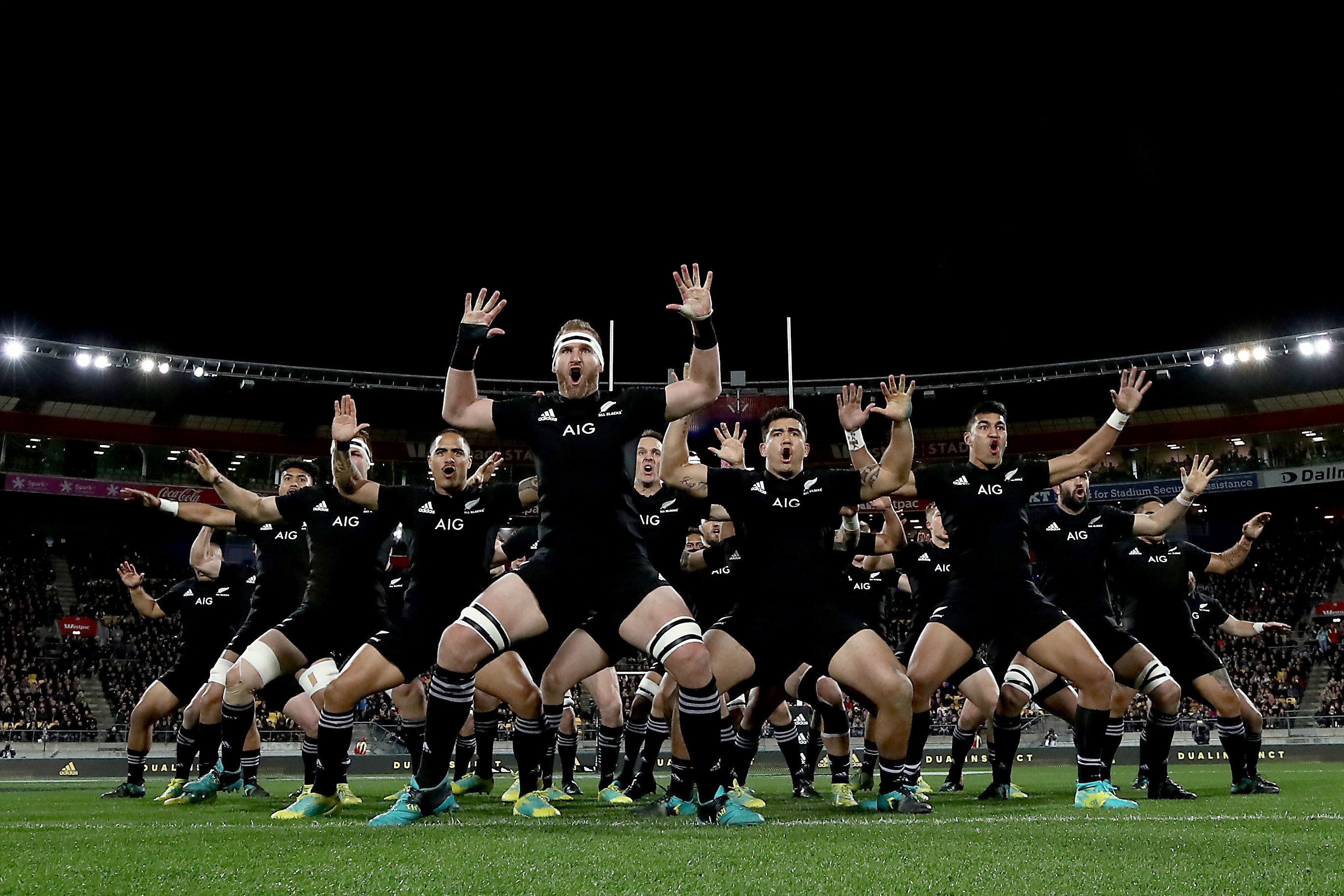 15 September 2018: The All Blacks performing the Haka during The Rugby Championship match between the All Blacks and the Springboks at Westpac Stadium in Wellington, New Zealand.
