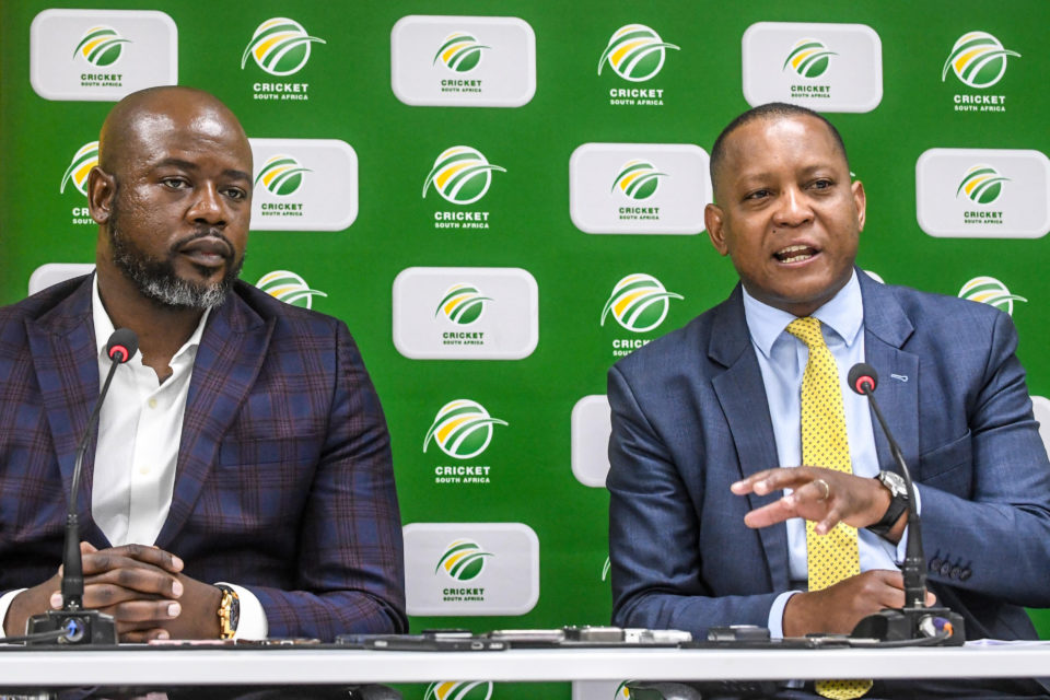 26 September 2018: CSA CEO Thabang Moroe (left) and SABC COO Chris Maroleng during the CSA media briefing on T20 League at Cricket South Africa headquarters on September 26, 2018 in Johannesburg, South Africa. (Photo by Sydney Seshibedi/Gallo Images)
