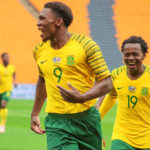 13 October 2018: Lebo Mothiba celebrates after scoring a goal during the 2019 Afcon qualifier match between South Africa and Seychelles at FNB Stadium.