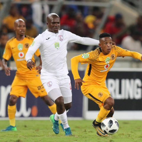 21 April 2018: Hendrick Ekstein of Kaizer Chiefs (front) during the Nedbank Cup semi-final match between Kaizer Chiefs and Free State Stars at Moses Mabhida Stadium in Durban. (Photograph by Anesh Debiky/Gallo Images)