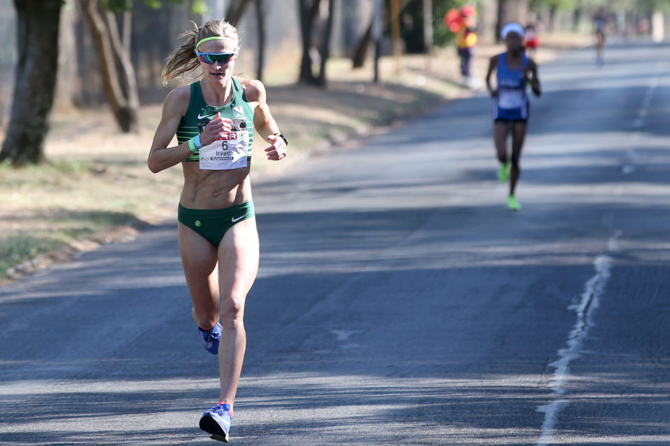 7 October 2018: Irvette van Zyl in the lead followed by Kesa Molotsane during the Spar Women's Challenge at Marks Park Sports Club in Johannesburg. (Photograph by Reg Caldecott/Gallo Images)