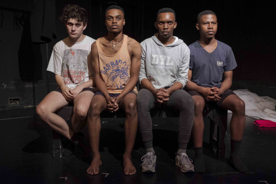 1 February 2019: (Left to right) Adam Lennox, Tevin Musara, Mphumzi Nontshinga and Simphiwe Shabalala star in 'Sainthood', a theatrical piece about the not-so-secret lives of South Africa's private-school boys. (Photograph by Barry Christianson)