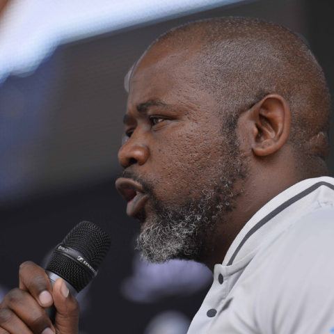 15 November 2018: Thabang Moroe during the Mzansi Super League Launch at the V&A Waterfront in Cape Town. (Photograph by Ashley Vlotman/Gallo Images)