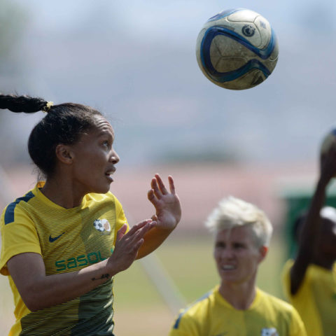 28 August 2015: Leandra Smeda during the Banyana Banyana media open day at the Nike Football Training Centre in Soweto. (Photograph by Duif du Toit/Gallo Images)