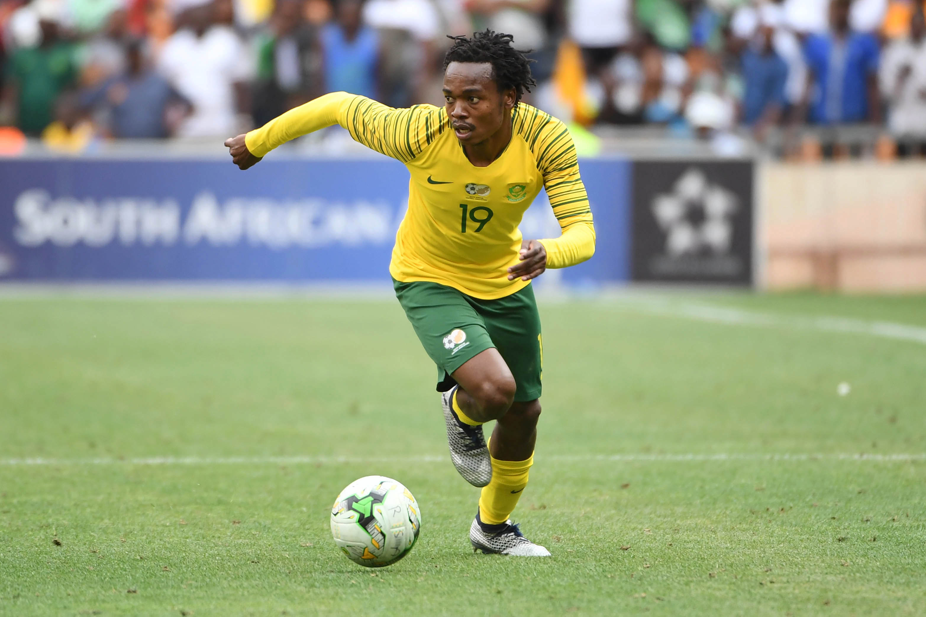 17 November 2018: Bafana Bafana's Percy Tau during the match between South Africa and Nigeria at the FNB Stadium. (Photograph by Lee Warren/Gallo Images)