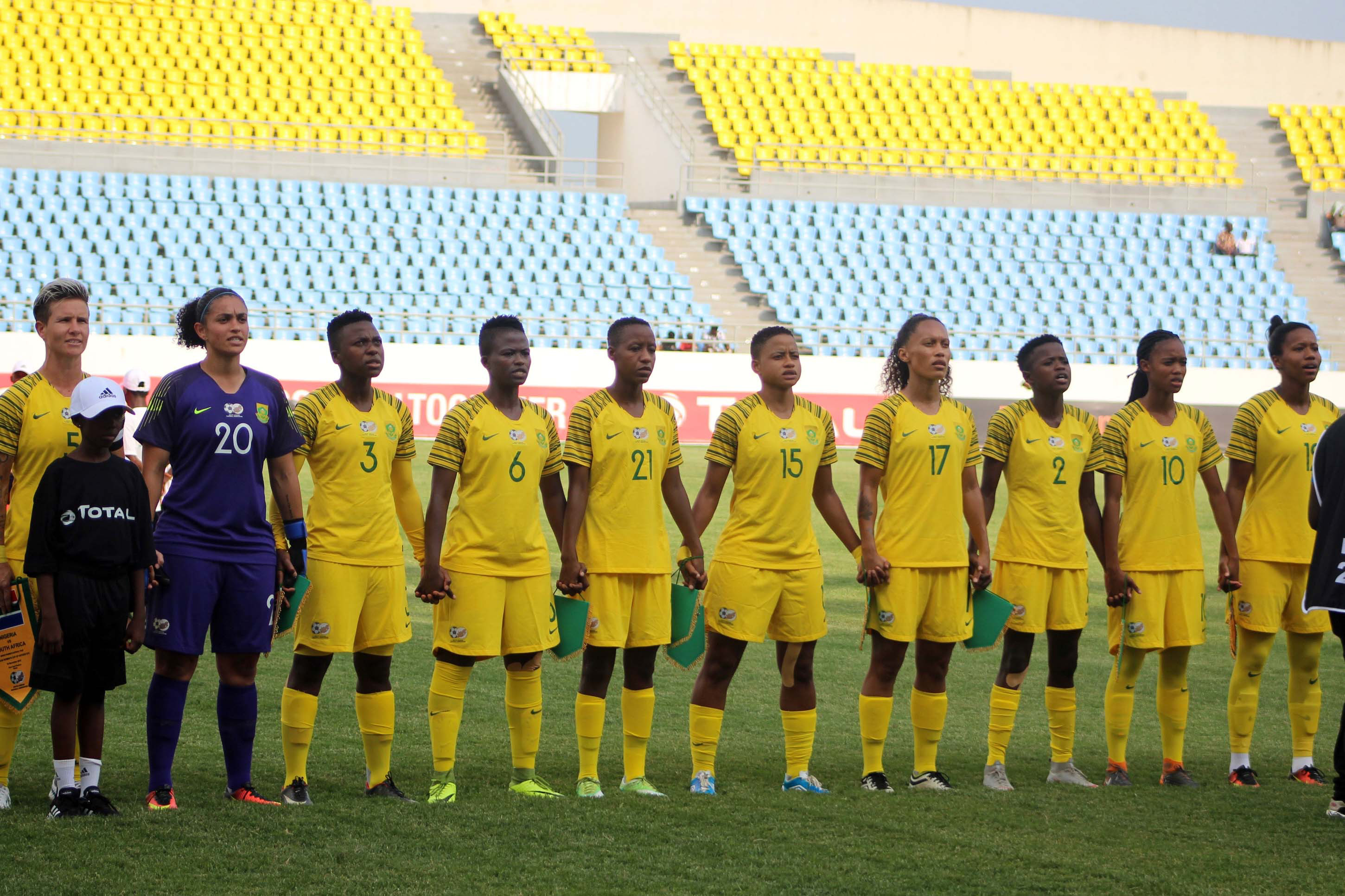 18 November 2018: A general view of Banyana during the 2018 TOTAL Africa Women's Cup of Nations match between South Africa and Nigeria at the Cape Coast Stadium in Cape Coast, Ghana. (Photo by Segun Ogunfeyitimi/Gallo Images)