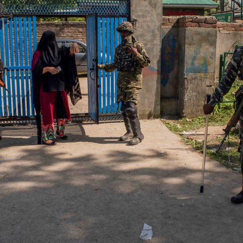 23 April 2019: A Kashmiri woman enters a deserted polling station in Anantnag. Pro-freedom resistance groups in Kashmir asked people to stay away, calling for a complete shutdown of the Indian elections. (Photograph by Yawar Nazir/Getty Images)