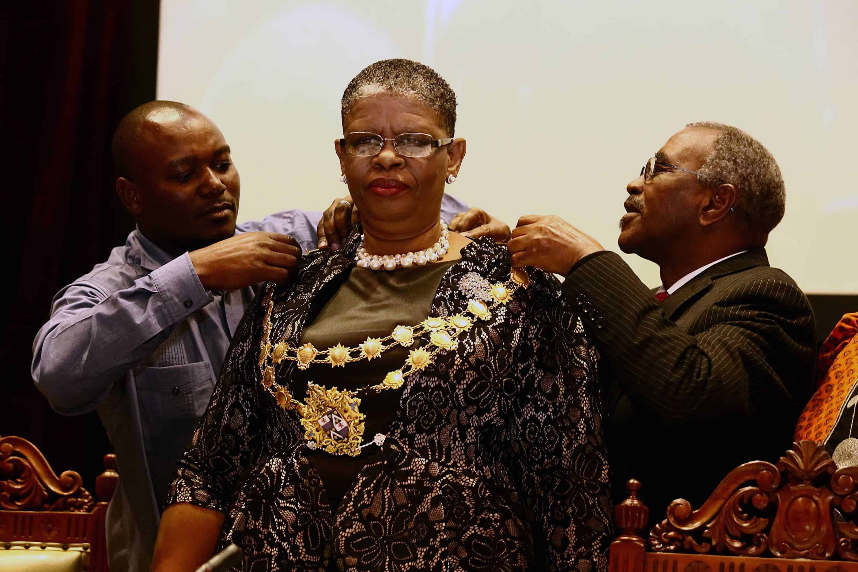 23 August 2016: eThekwini mayor Zandile Gumede during her inauguration at Durban City Hall. Gumede was the first woman to be elected mayor of the metro. (Photograph by Gallo Images/The Times/Jackie Clausen)