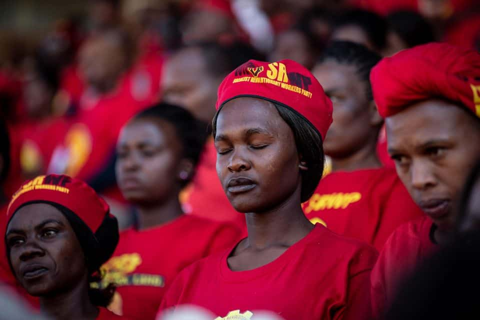 1 May 2019: Those attending the Saftu rally in Polokwane observed a moment of silence for all the workers who had 'lost their lives during production'. (Photograph by Gulshan Khan)