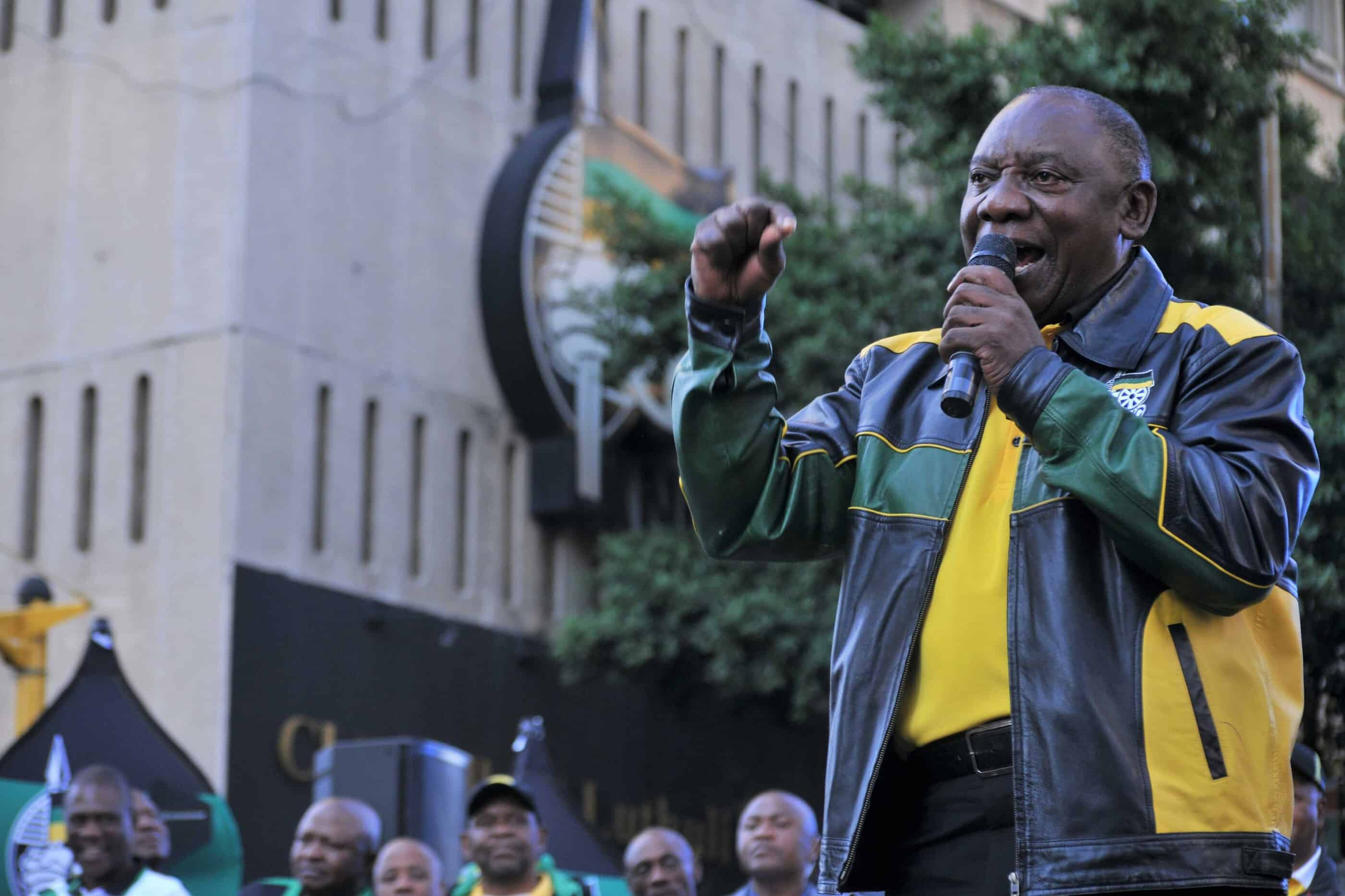 12 May 2019: President Cyril Ramaphosa addresses ANC supporters outside Luthuli House during an election victory celebration. Ramaphosa admitted that the campaign was difficult, and thanked supporters for having confidence in the party. (Photograph by Gallo Images/Laird Forbes)