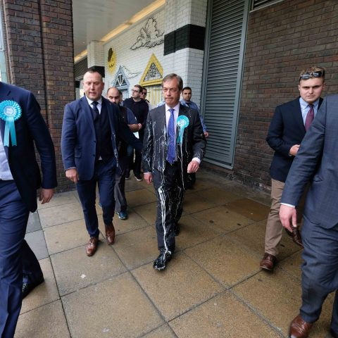 20 May 2019: Brexit Party leader Nigel Farage after having milkshake thrown over him in what has become a new political practice known as 'lactose against tolerance' during a campaign visit to Newcastle Upon Tyne in England. (Photograph by Ian Forsyth/Getty Images)