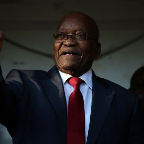 20 May 2019: Former president Jacob Zuma outside the high court in Pietermaritzburg after applying for a permanent stay of prosecution regarding 16 charges of money laundering, fraud, racketeering and corruption. (Photograph by Gallo Images/Phill Magakoe)